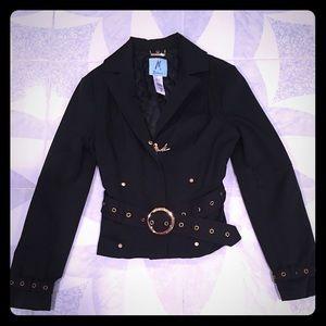 Black Stretch Jacket W/Gold Detail